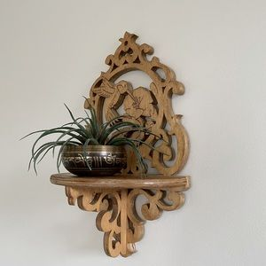 Teak Hummingbird fretwork wall shelf